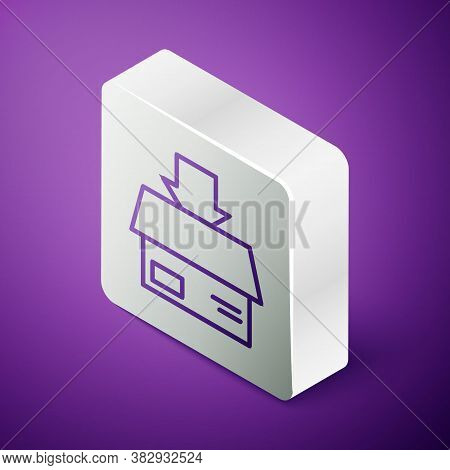 Isometric Line Carton Cardboard Box Icon Isolated On Purple Background. Box, Package, Parcel Sign. D