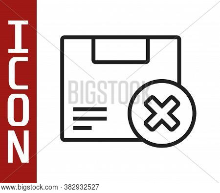 Black Line Carton Cardboard Box And Delete Icon Isolated On White Background. Box, Package, Parcel S