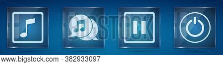 Set Music Note, Tone, Musical Note In Speech Bubble, Pause Button And Power Button. Square Glass Pan