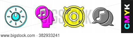 Set Dial Knob Level Technology Settings, Musical Note In Human Head, Stereo Speaker And Musical Note