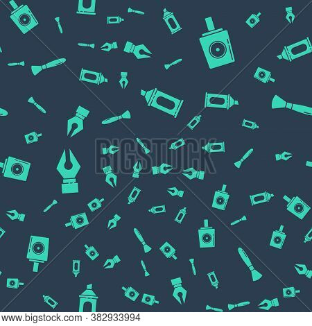 Set Marker Pen, Spray Can Nozzle Cap, Fountain Pen Nib And Paint Brush On Seamless Pattern. Vector