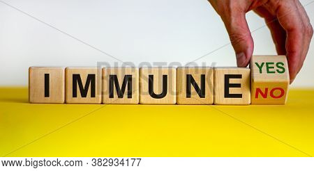 Corona Immune And Medical Concept. Hand Turns Cube And Changes The Expression 'immune No' To 'immune