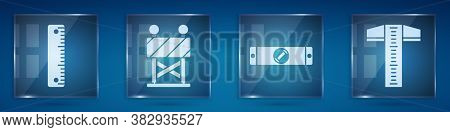 Set Ruler, Road Barrier, Construction Bubble Level And T-square Line. Square Glass Panels. Vector