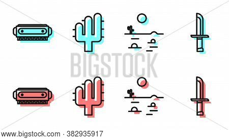 Set Line Desert Landscape With Cactus, Harmonica, Cactus And Military Knife Icon. Vector