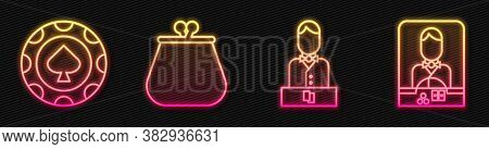 Set Line Casino Dealer, Casino Chips, Wallet And Casino Dealer. Glowing Neon Icon. Vector