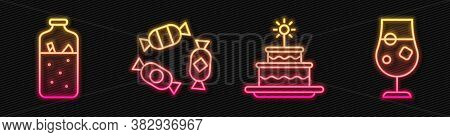 Set Line Cake With Burning Candles, Mulled Wine, Candy And Cocktail And Alcohol Drink. Glowing Neon