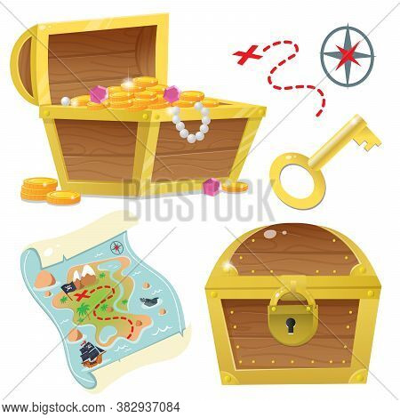 Treasure Chest. Pirate Coffer With Gold And Jewels. Closed Coffer With Lock. Golden Key. Treasure Ma