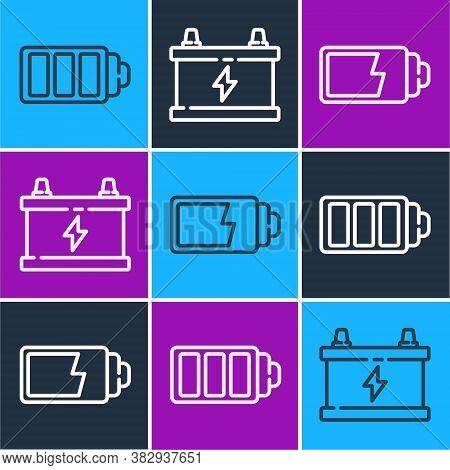 Set Line Battery Charge Level Indicator, Battery Charge Level Indicator And Car Battery Icon. Vector