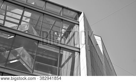 Abstract Modern Architecture With High Contrast Black And White Tone. Architecture Of Geometry At Gl