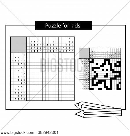 Star. Black And White Japanese Crossword With Answer. Nonogram With Answer.  Puzzle Game For Kids.