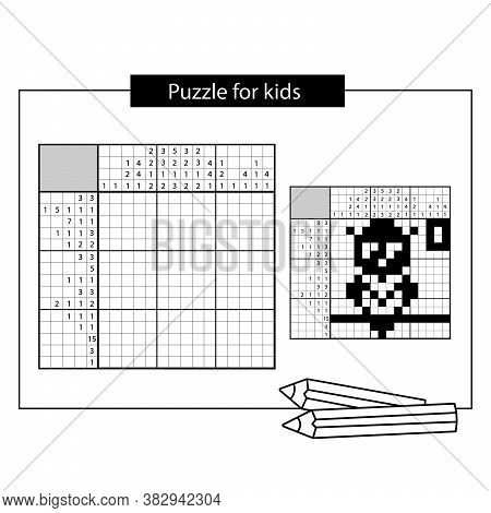 Owl. Black And White Japanese Crossword With Answer. Nonogram With Answer.  Puzzle Game For Kids.