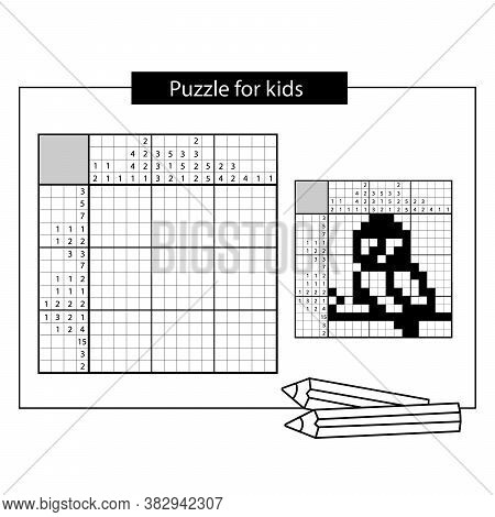 Bird. Black And White Japanese Crossword With Answer. Nonogram With Answer.  Puzzle Game For Kids.