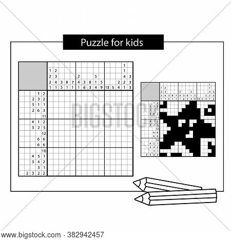 Starfish. Marine Life. Black And White Japanese Crossword With Answer. Nonogram With Answer.  Puzzle