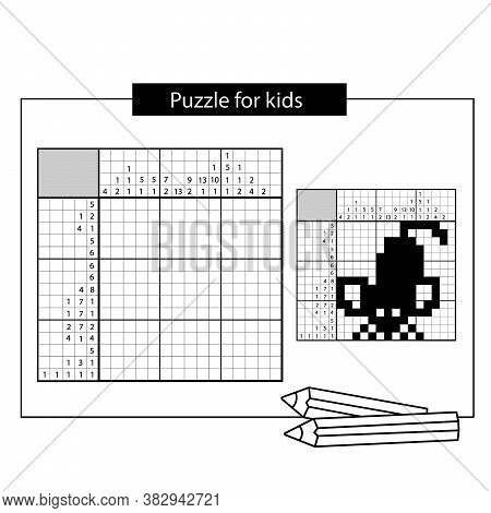 Mouse. Black And White Japanese Crossword With Answer. Nonogram With Answer.  Puzzle Game For Kids.