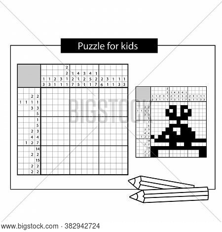 Clockwork Mouse. Nonogram With Answer. Black And White Japanese Crossword With Answer. Puzzle Game F