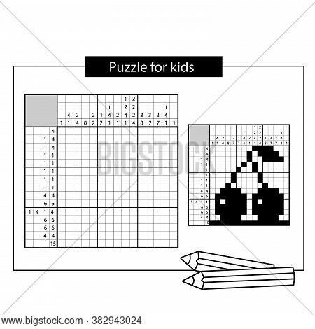 Cherry. Black And White Japanese Crossword With Answer. Nonogram With Answer. Puzzle Game For Kids.