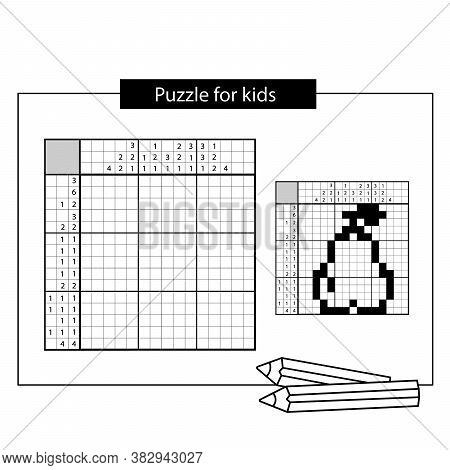 Pear. Black And White Japanese Crossword With Answer. Nonogram With Answer.  Puzzle Game For Kids.
