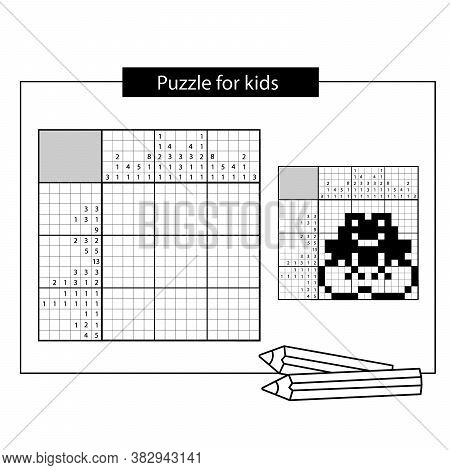 Frog. Black And White Japanese Crossword With Answer. Nonogram With Answer. Puzzle Game For Kids.