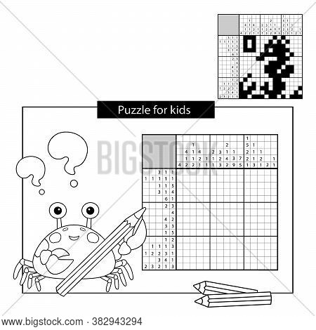 Seahorse. Black And White Japanese Crossword With Answer. Coloring Page Outline Of Sea Crab. Colorin