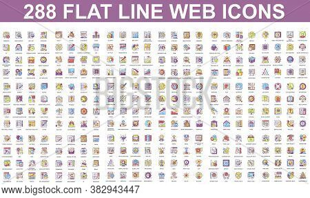 Bundle Vector Flat Line Icons Concept. Contain Such Icons As Teamwork, People, Finance, Analysis, Se