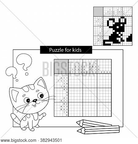Mouse. Black And White Japanese Crossword With Answer. Coloring Page Outline Of Little Cat. Coloring