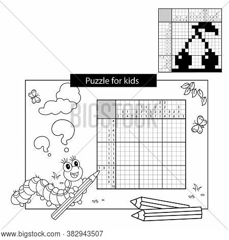 Cherry. Black And White Japanese Crossword With Answer. Coloring Page Outline Of Caterpillar With Pe