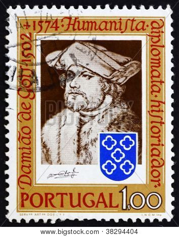 Postage stamp Portugal 1974 Damiao de Gois, by Durer