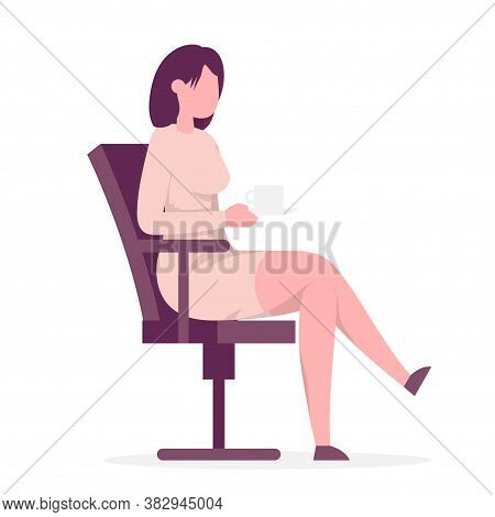 Businesswoman Sitting On Office Chair And Holding Coffee Cup. Side View. Color Vector Cartoon Illust