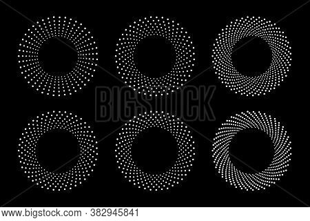 White Halftone Circular Dotted Frames Set. Circle Dots Isolated On The Black Background. Logo Design