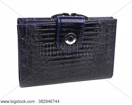 New Dark Blue Wallet Of Genuine Reptile Skin Leather. Without Shadows. Isolated On White Background.