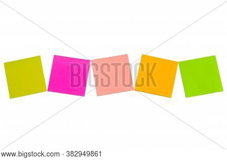 Colorful Blank Sticky Note Or Empty Post Notes Isolated On White Background For Reminder Remember An