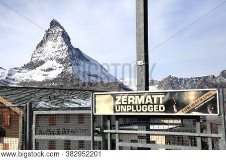 Zermatt, Switzerland- Nov 14, 2015: Scenic Route Along Gornergrat Railway On Matterhorn Mountain On