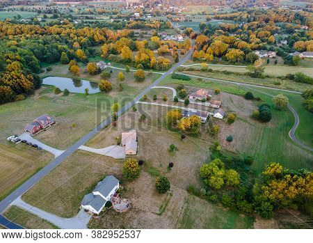 American Landscape Beautiful Barn Aerial View Farmland In The Ohio Countryside House