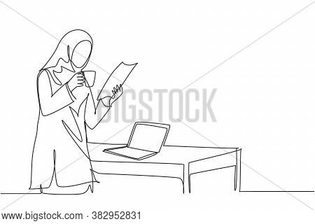 One Continuous Line Drawing Of Young Muslimah Marketing Manager Reading Sales Report Paper From Team