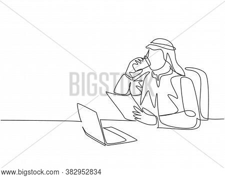 One Continuous Line Drawing Of Young Muslim Businessman Reading Business Annual Report Paper. Saudi