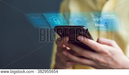 Technology Concept With Cyber Security Internet And Networking, Woman Hand Using Smartphone, Screen