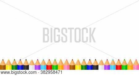 Colorful Pencils Crayon Pastel Cute In A Row On White Copy Space, Collection Colored Pencils For Ban
