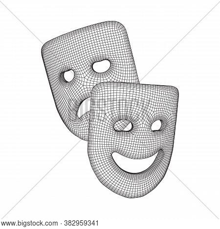 Theatrical Masks Tragedy And Comedy Character. Wireframe Low Poly Mesh Vector Illustration.