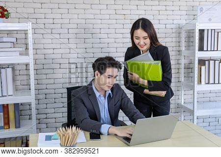 Company Executive Young Asian Businessman And Coaching Personal Secretary Assistant Businesswoman Pa