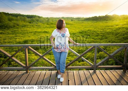 Asian Girl On Wooden Bridge Around With Mangrove Forest Ecotourism Thung Prong Thong, Rayong Provinc