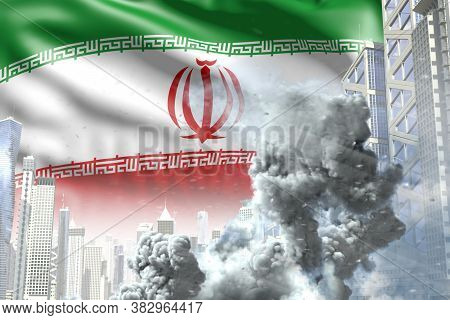 Large Smoke Pillar In The Modern City - Concept Of Industrial Disaster Or Terroristic Act On Iran Fl