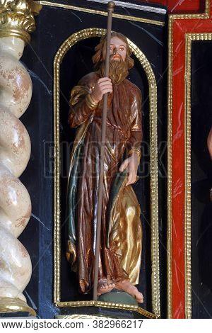 KLANJECKO JEZERO, CROATIA - NOVEMBER 06, 2013: Statue of a Saint on the Altar of Suffering in the chapel of Saint George at the Lake in Klanjecko Jezero, Croatia