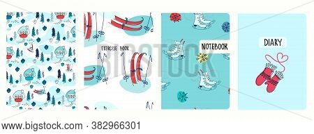 Set Of Cover Page Vector Templates Based On Seamless Patterns With Winter Landscapes, Snow, Skis, Sk