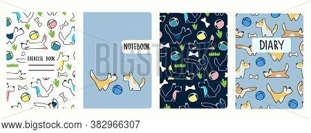 Set Of Cover Page Vector Templates Based On Seamless Patterns With Doggies. Perfect For School Exerc