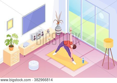 Yoga At Home, Man Doing Exercise In Room, Isometric Illustration. Yoga Sport And Stretch Workout Or