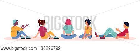 People Sitting And Talking Icons, Discuss Or Conversation With Backs Or View From Behind, Vector Fla