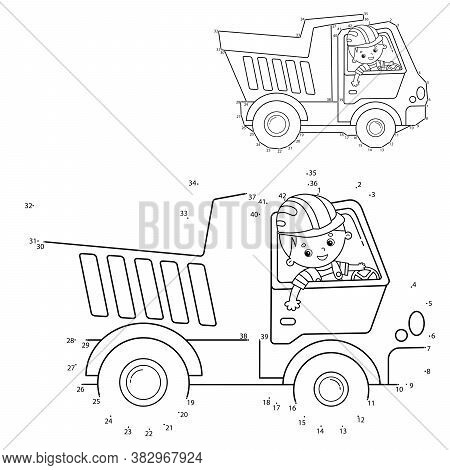 Puzzle Game For Kids: Numbers Game. Lorry Or Dump Truck. Construction Vehicles. Coloring Book For Ki