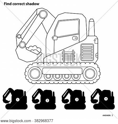 Puzzle Game For Kids. Find Correct Shadow. Crawler Excavator. Construction Vehicles. Coloring Book F
