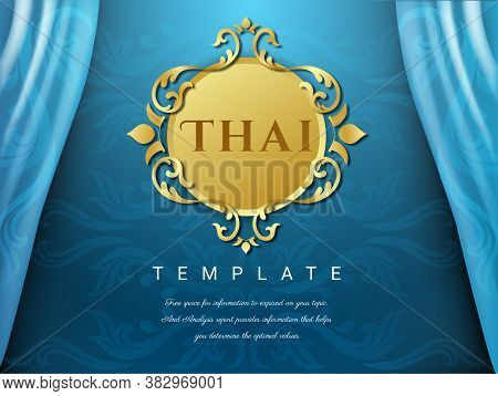 Thai Background Blue Color With Flower Logo, Thai Pattern Traditional Concept, Asian Traditional Art