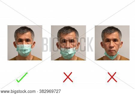 Portrait Of Asian Senior Adult Male Demonstrating How To Wear Mask Correctly And Incorrectly